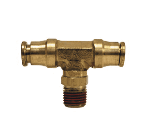 "72S12x8 Dixon Forged Brass Push-In Fitting - Male Swivel Branch Tee - 3/8"" Tube OD x 1/4"" Male NPTF"