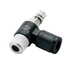 "86040 Nycoil Push-to-Connect Fitting - Mini Knob Adjustable Flow Control - Meter Out - 1/4"" Tube OD x 10-32 Male NPT - Pack of 10"
