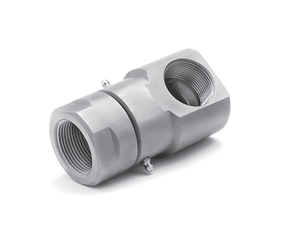 "9SS8FP38XFP38-440-V (22012)  Super Swivel 90° 3/8-18 Female Pipe NPTF x 3/8-18 Female Pipe NPTF - 0.530"" Through Hole - 440c Stainless Steel - Viton Seal"