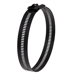 "AE6139 Band-It Multi-Lok Tie - 316SS - 0.276"" x 0.011"" (base metal) 0.018"" (coated, Nylon 11) x 12.0"" - 100 Pieces/Bag"