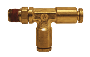 "AQ71DOTS4x2 Dixon Brass CA377 D.O.T. Push-In Fitting - Swivel Male Run Tee - 1/4"" Tube OD x 1/8"" Male NPT (Pack of 10)"
