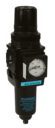 "B08-02AGMB Dixon Wilkerson 1/4"" Miniature Filter / Regulator with Metal Bowl - Automatic Drain - 42.1 SCFM"