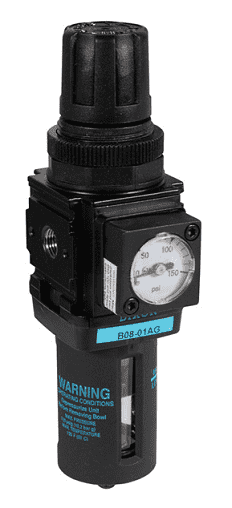 "B08-02AG Dixon Wilkerson 1/4"" Miniature Filter / Regulator with Transparent Bowl and Guard - Automatic Drain - 42.1 SCFM"