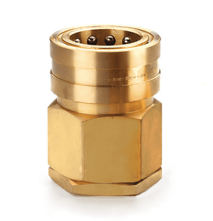 B10H41 Eaton Hansen HK 10/12/20 Series Female Socket 1 1/4-11 1/2 NPTF VALVED - ISO 7241-1 B Interchange Brass Quick Disconnect - Standard Buna-N Seal replaces FD45-1101-20-20