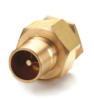 B12K41 Eaton Hanson HK 10/12/20 Series Male Plug - Female 1 1/4-11 1/2 NPTF VALVED - ISO 7241-1-B Interchange Brass Quick Disconnect - Standard Buna-N Seal
