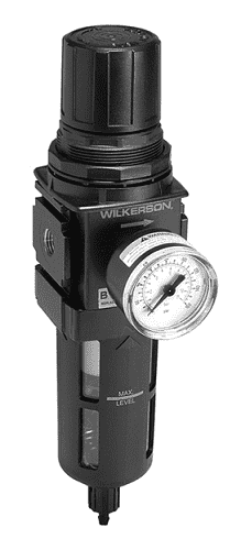 "B18-02MG Dixon Wilkerson 1/4"" Compact Filter / Regulators with Transparent Bowl and Guard - Manual Drain - 88 SCFM"