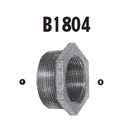 B1804-08-06 Adaptall Malleable Iron -08 Male BSPT x -06 Female BSP Solid Adapter