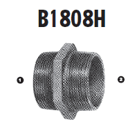 B1808H-06-02 Adaptall Malleable Iron -06 Male BSPT x -02 Male BSPT Adapter