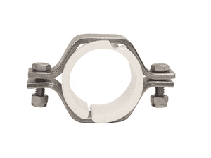 "B24PV-G150 Dixon 304 Stainless Steel Sanitary Hex Pipe Size Hanger with Polypropylene Sleeves - 1-1/2"" Pipe Size"