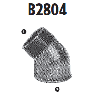 B2804-06-06 Adaptall Malleable Iron 45 deg. -06 Male BSPT x -06 Female BSP Solid Elbow