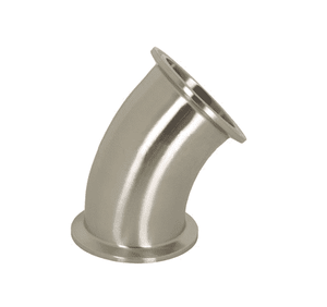 "B2KMP-R75 Dixon 316L Stainless Steel Sanitary 45 deg. Clamp Elbow - 3/4"" Tube OD"