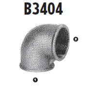 B3404-16-12 Adaptall Malleable Iron 90 deg. -16 Female BSP x -12 Female BSP Solid Adapters