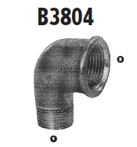 B3804-06-06 Adaptall Malleable Iron 90 deg. -06 Male BSPT x -06 Female BSP Solid Elbow