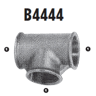 B4444-04 Adaptall Malleable Iron -04 Female BSP Solid Tee