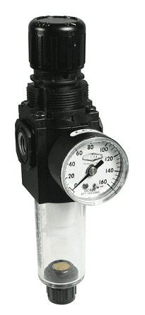 "B72G-2AG Dixon Series 1 Filter / Regulators - 1/4"" Sub-Compact with Transparent Bowl - Semi-Automatic Drain - 80 SCFM"