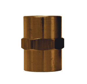 "BA2F2F Dixon Brass Female Hex Coupling - 1/4"" x 1/4"" NPTF Thread Adapter"