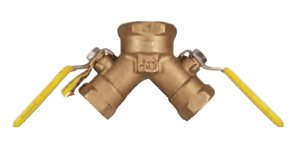 "BBV125DW Dixon Non-Vented Brass Dual Y Valve - One 1-1/4"" Female NPT Inlet x Two 3/4"" Female NPT Outlets"