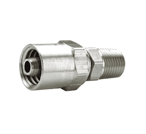 "BN32RU68SS Dixon 303 Stainless Steel Reusable Male Fitting - 3/8"" Hose ID - 11/16"" Hose OD - 1/4"" NPTF Thread"