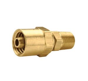 "BN32RU68 Dixon Brass Reusable Male Fitting - 3/8"" Hose ID - 11/16"" Hose OD - 1/4"" NPTF Thread"