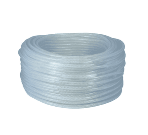 "BR0812 Dixon Clear PVC Braided Tubing - Domestic - 1/2"" ID, 3/4"" OD - 300ft Length"
