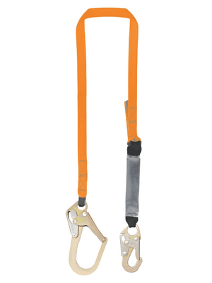 C5011 Malta Dynamics 6' Single Leg External Shock Pack Absorbing Lanyard with 1 Rebar Hook and 1 Steel Snap Hook