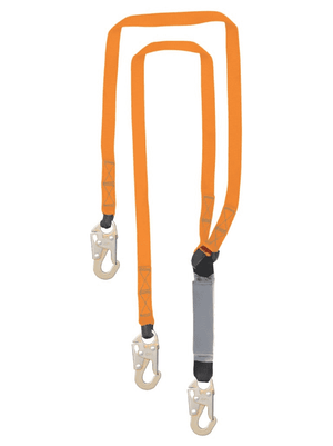 C5002 Malta Dynamics 6' Double Leg External Shock Pack Absorbing Lanyard with 3 Steel Snap Hooks