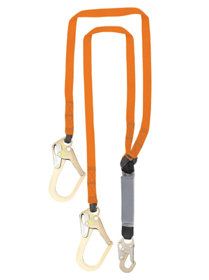 C5013 Malta Dynamics 6' Double Leg External Shock Pack Absorbing Lanyard with 2 Rebar Hooks and 1 Steel Snap Hook
