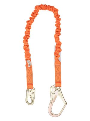 C5115 Malta Dynamics 4.5' - 6' Single Leg Stretch Internal Shock Absorbing Lanyard with 1 Rebar Hook and 1 Steel Snap Hook