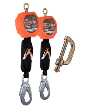 C7201D Malta Dynamics Dual 11' Pygmy Hog® Web Self-Retracting Lifeline with Connector Kit (Steel Snap Hook)