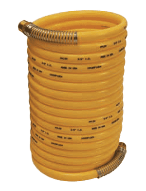 "CC1412 Dixon Coil-Chief Self-Storing Nylon Air Hose with Fittings - 1/4"" Hose ID - 12ft Length - 1/4"" Male NPT"