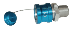 "CN-P Dixon 1/2"" NPT Anodized Aluminum Flomax Standard Series Connector - Coolant Fluid Nozzle Ball Lock with Plug"
