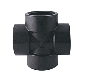 "CR100 Banjo Polypropylene Pipe Cross - 1"" Female NPT x 1"" Female NPT x 1"" Female NPT x 1"" Female NPT - 150 PSI (Pack of 5)"
