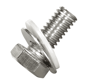 "D00299 Band-It 5/16""-18 x 3/4"" Hex Head SS Bolt, SS Washer and Fiber Washer - 50 Pieces/Bag"