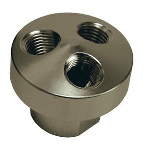 "D3406 Dixon Aluminum 3 in 1 Manifold - One 3/8"" NPT Inlet - Three 1/4"" NPT Outlets"
