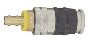 "DC2044LSE Parker EZ-Mate Steel Industrial Interchange Coupler - Push-Lock Hose Barb - 1/4"" Body Size x 3/8"" Hose ID"