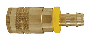 "DC2044L Dixon Air Chief Brass Semi-Automatic Pull Sleeve Quick-Connect Coupler - Push-On Hose Barb - 1/4"" Body Size x 3/8"" Hose ID"