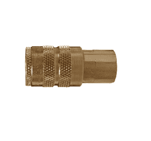 "DC2023 Dixon Air Chief Brass Semi-Automatic Pull Sleeve Quick-Connect Coupler - Female Pipe Thread - 1/4"" Body Size x 3/8"" Female NPT"