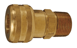 "DC2103 Dixon Air Chief Brass Semi-Automatic Pull Sleeve Quick-Connect Coupler - Male Pipe Thread - 1/4"" Body Size x 3/8"" Male NPT"