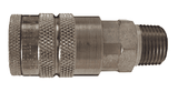 "DC21S Dixon Air Chief 303 Stainless Steel Semi-Automatic Pull Sleeve Quick-Connect Coupler - Male Pipe Thread - 1/4"" Body Size x 1/4"" Male NPT"