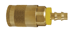 "DC242L Dixon Brass Air Chief Automotive Interchange Quick-Connect Coupler (Semi-Automatic Pull Sleeve to Connect) - Push-On Hose Barb - 1/4"" Body Size x 1/4"" Hose ID"