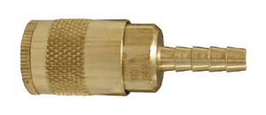 "DC242 Dixon Brass Air Chief Automotive Interchange Quick-Connect Coupler (Semi-Automatic Pull Sleeve to Connect) - Standard Hose Barb - 1/4"" Body Size x 1/4"" Hose ID"