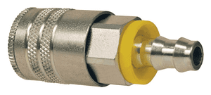 "DC2642L Dixon Air Chief Steel Semi-Automatic Pull Sleeve Quick-Connect Coupler - Push-On Hose Barb - 3/8"" Body Size x 1/4"" Hose ID"