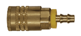 "DC3844L Dixon Brass Air Chief ARO Speed Quick-Connect Coupler (Semi-Automatic Pull Sleeve to Connect) - Push-On Hose Barb - 1/4"" Body Size x 3/8"" Hose ID"