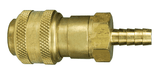 "DCB2642 Dixon Air Chief Brass Automatic Push to Connect Quick-Connect Coupler - Standard Hose Barb - 3/8"" Body Size x 1/4"" Hose ID"