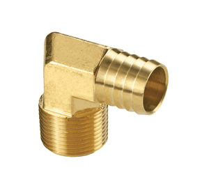 "EL3H2M Dixon Brass Male Insert 90 Deg. Barbed Hose Elbow - Forged - 3/8"" Hose ID x 1/4"" NPTF Thread"