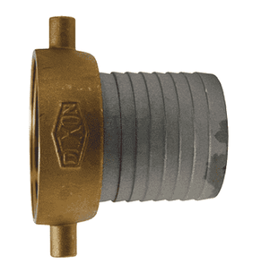 "FAB250N Dixon 2-1/2"" King Short Shank Suction Female Coupling with NST (NH) Thread (Aluminum Shanks with Brass Nut)"