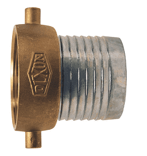 "FCSB125 Dixon 1-1/4"" Steel King Short Shank Suction Female Coupling with NPSM Thread (Plated Steel Shank with Brass Nut)"