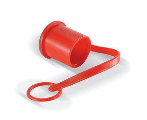 "PDC10FF Eaton FF Series Male Plug 3/8"" Quick Disconnect Dust Cap Red PVC"