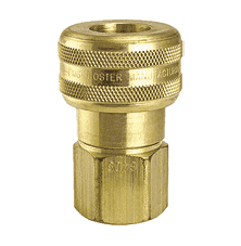 "SL6406 ZSi-Foster Quick Disconnect 1-Way Automatic Socket - 3/4"" FPT - Sleeve Lock, Brass"