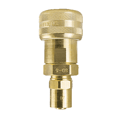 "SLSP19-5 ZSi-Foster Quick Disconnect 1-Way Automatic Socket - 1/2"" ID x 1"" OD - Sleeve Lock, Brass - Reusable Hose Clamp"